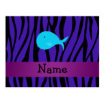 Cebra conocida personalizada de la púrpura de la b tarjetas postales