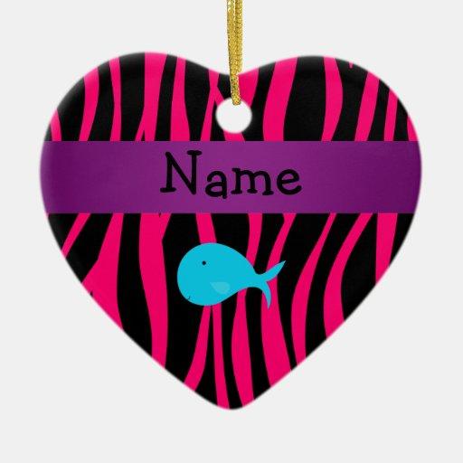 Cebra conocida personalizada del rosa de la ballen ornamento para arbol de navidad