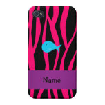 Cebra conocida personalizada del rosa de la ballen iPhone 4 carcasa