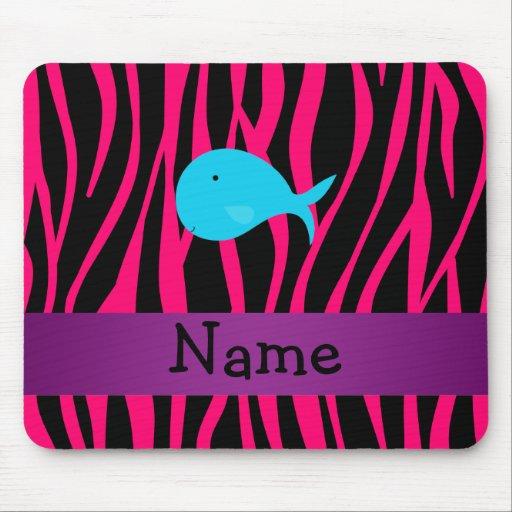 Cebra conocida personalizada del rosa de la ballen alfombrilla de ratón