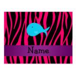 Cebra conocida personalizada del rosa de la ballen postales