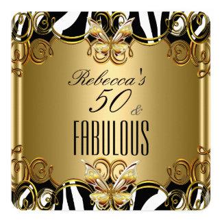 Cebra de bronce del blanco del negro del oro 50 invitación personalizada