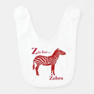 Cebra - de color rojo oscuro y blanca baberos para bebé