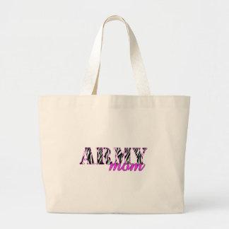 Cebra de la mamá del ejército bolsas lienzo