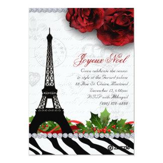 """Cebra de la torre Eiffel de la tarjeta de París de Invitación 5"""" X 7"""""""
