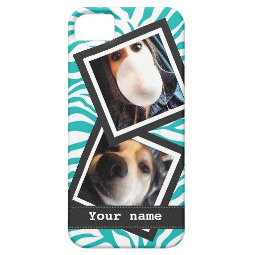Cebra de la turquesa con 2 fotos cuadradas de funda para iPhone 5 barely there