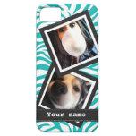 Cebra de la turquesa con 2 fotos cuadradas de Inst iPhone 5 Protector