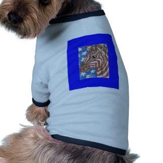 Cebra de las barras y estrellas camisas de mascota