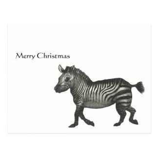 Cebra de las Felices Navidad Postales