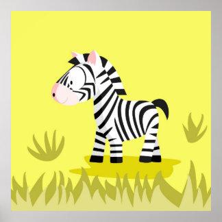 Cebra de mi serie de los animales del mundo póster