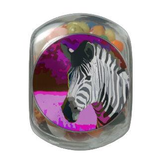 Cebra de neón púrpura rosada colorida jarras de cristal