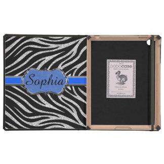 Cebra de plata azul negra del brillo personalizada