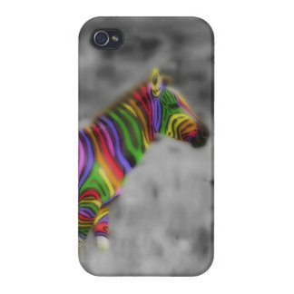 Cebra del arco iris iPhone 4 fundas
