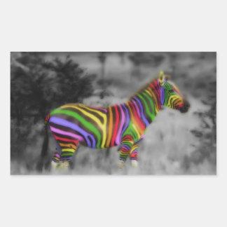 Cebra del arco iris pegatina rectangular