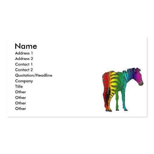 cebra del arco iris tarjetas de visita