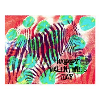 Cebra del circo - el día de San Valentín feliz Postales