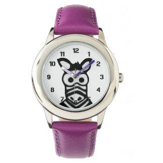 Cebra del dibujo animado reloj de mano
