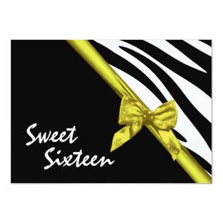 """Cebra del dulce dieciséis y vara de oro de la invitación 5"""" x 7"""""""
