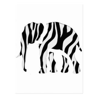 Cebra del elefante: Puré-Para arriba salvaje Postales
