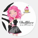 Cebra del meñique de 311 postres de Dollface Pegatinas Redondas