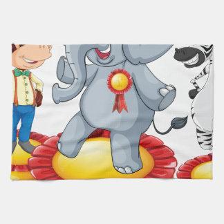 Cebra del mono del elefante toalla de cocina