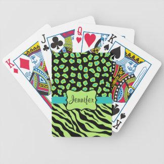 Cebra del negro, de la verde lima y de la turquesa baraja de cartas