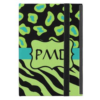 Cebra del negro, de la verde lima y de la turquesa iPad mini protectores