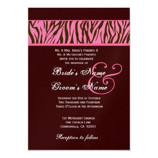 """Cebra del rosa y del chocolate que casa el papel invitación 5"""" x 7"""""""