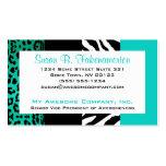 Cebra del trullo leopardo azules y negros del esta plantilla de tarjeta de visita