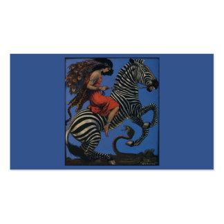 Cebra del vintage con el jinete de la mujer de tarjetas de visita