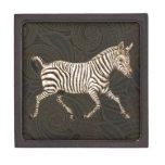 Cebra del vintage que corre con el diseño de Paisl Caja De Joyas De Calidad