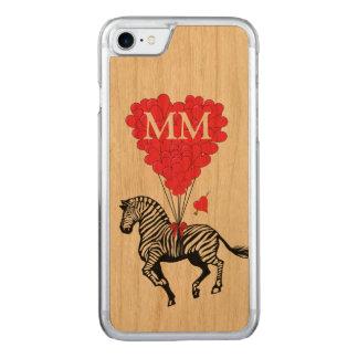 cebra del vintage y corazón del amor funda para iPhone 7