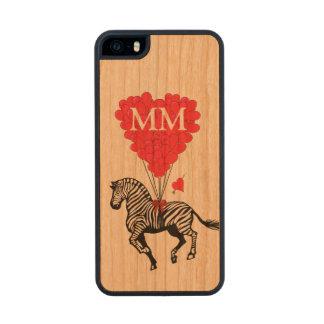 Cebra del vintage y corazón personalizados del funda de cerezo carved® para iPhone 5