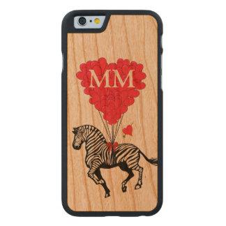 Cebra del vintage y corazón personalizados del funda de iPhone 6 carved® slim de cerezo