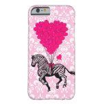 Cebra del vintage y globos rosados del corazón funda de iPhone 6 barely there