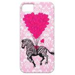 Cebra del vintage y globos rosados del corazón iPhone 5 Case-Mate cárcasa