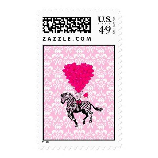 Cebra del vintage y globos rosados del corazón franqueo