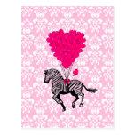 Cebra del vintage y globos rosados del corazón tarjetas postales