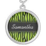 Cebra descarada de la verde lima personalizada joyerías