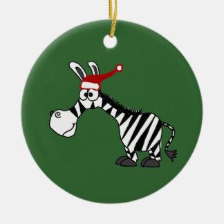 Cebra divertida en dibujo animado del navidad del adorno para reyes