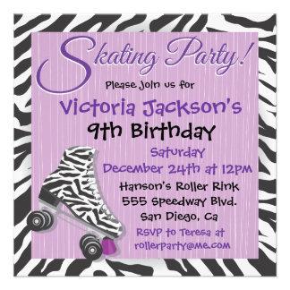 Cebra e invitaciones púrpuras del fiesta del patin invitaciones personalizada
