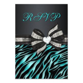 """Cebra elegante RSVP con el arco Jeweled Invitación 3.5"""" X 5"""""""
