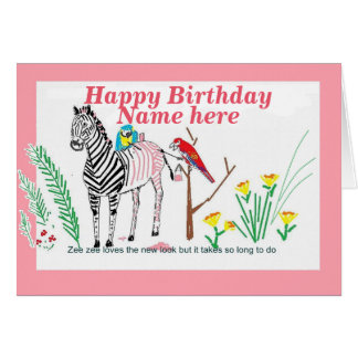 Cebra en el salón, cumpleaños divertido, para ella tarjeta de felicitación