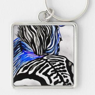 Cebra enrrollada (arte de K.Turnbull) Llavero Cuadrado Plateado