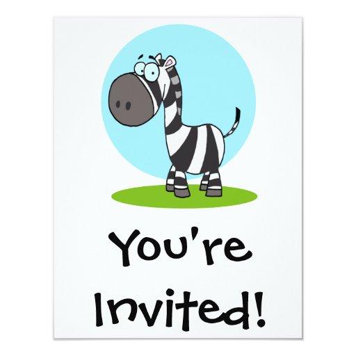 cebra feliz linda del dibujo animado invitación 10,8 x 13,9 cm