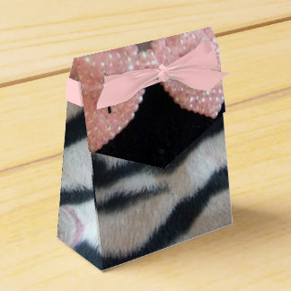Cebra femenina y arco rosado Diamante Bling Cajas Para Regalos De Boda