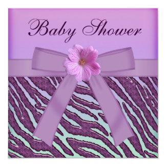 """Cebra, fiesta de bienvenida al bebé púrpura de la invitación 5.25"""" x 5.25"""""""