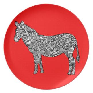 Cebra geométrica del collage de la forma (fondo ro platos para fiestas