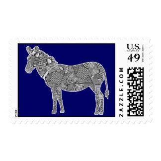 Cebra geométrica del collage de la forma (fondo sello