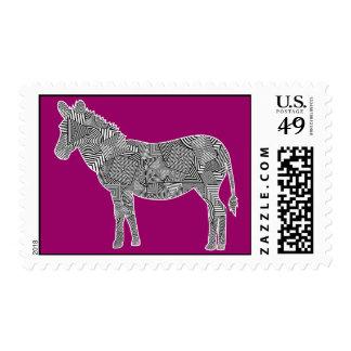Cebra geométrica del collage de la forma (fondo sello postal